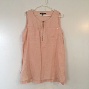 Ellen Tracy pink linen sleeveless blouse NWT